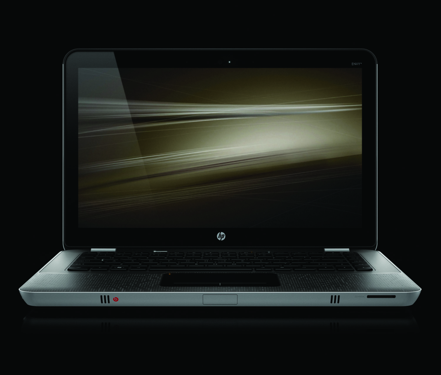 HP Envy 14, front open on black