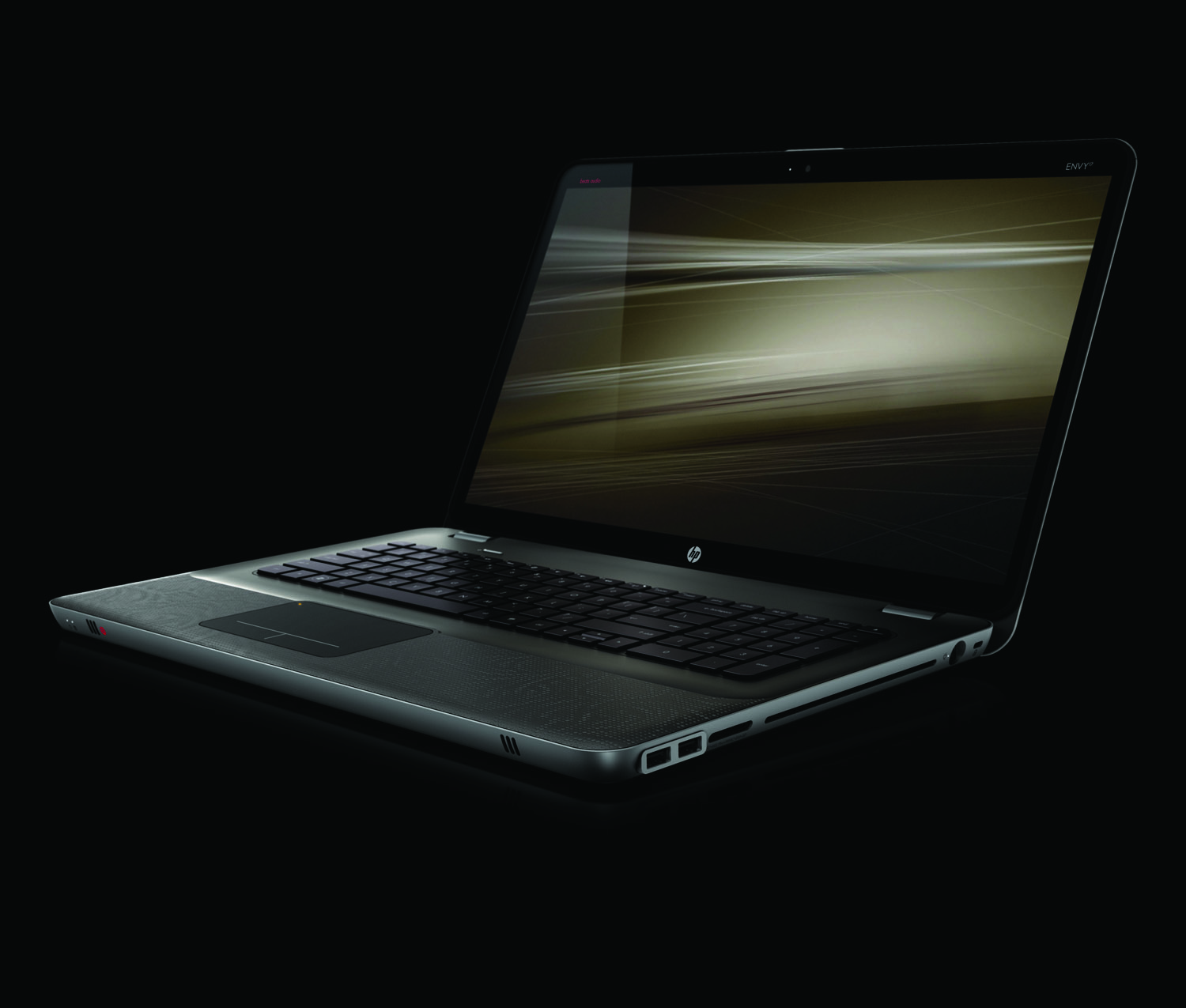 HP Envy 17, front left open on black