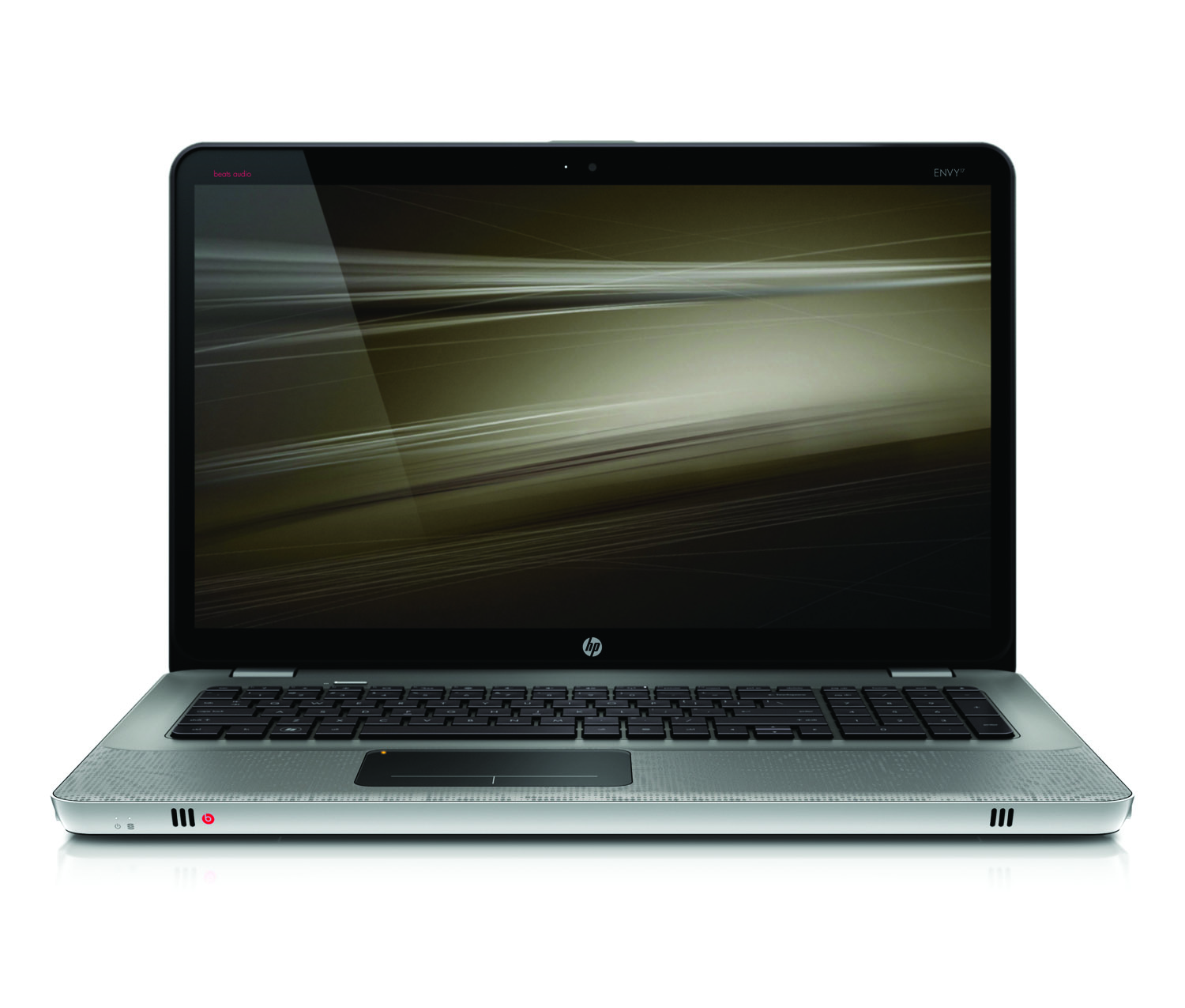 HP Envy 17, front open on white