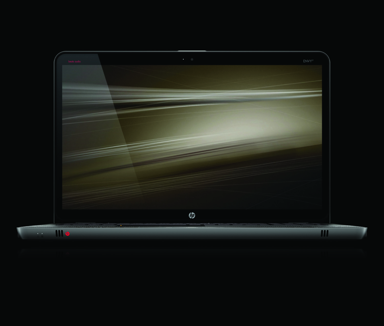 HP Envy 17, front open profile on black