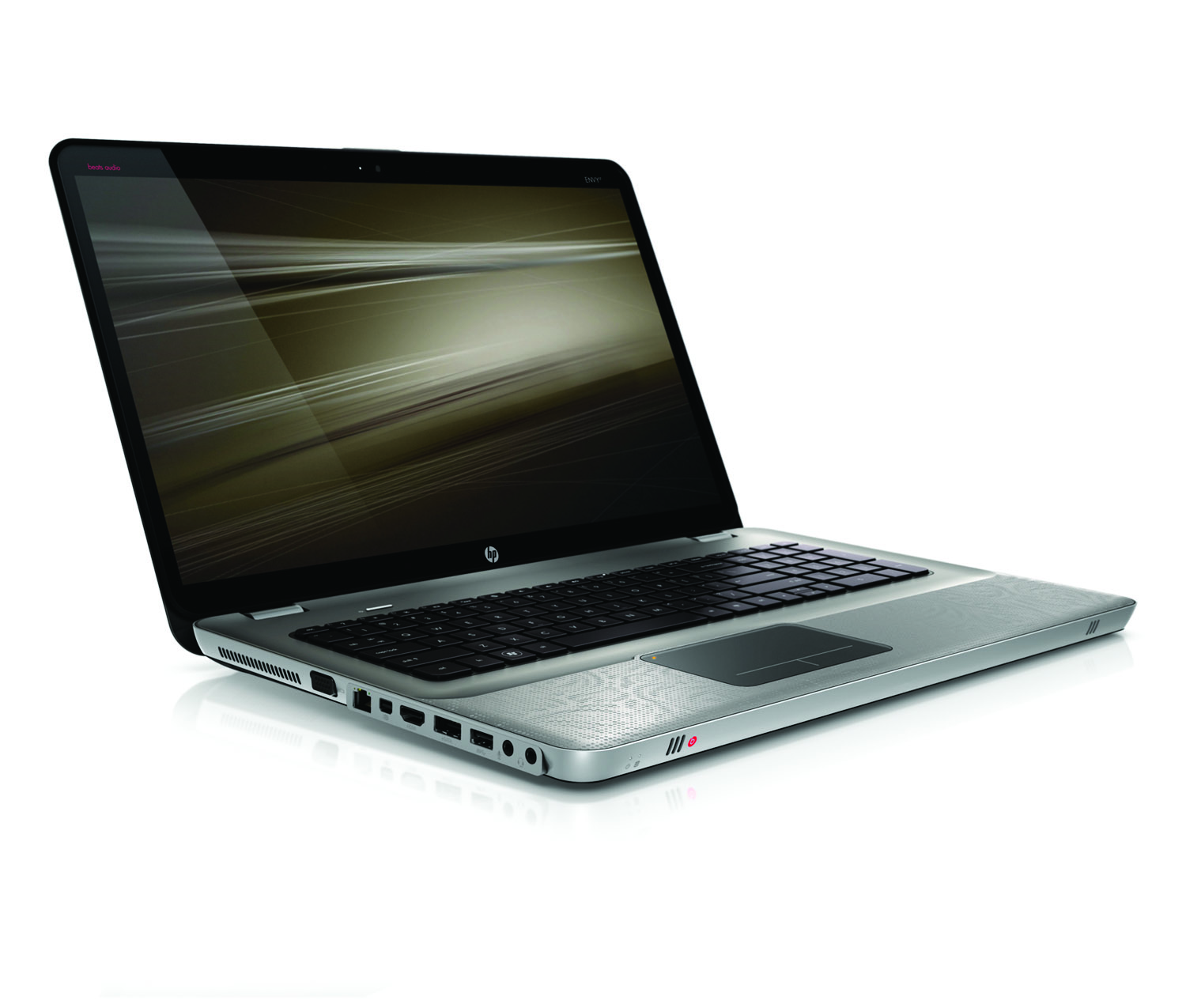 HP Envy 17, front right open on white