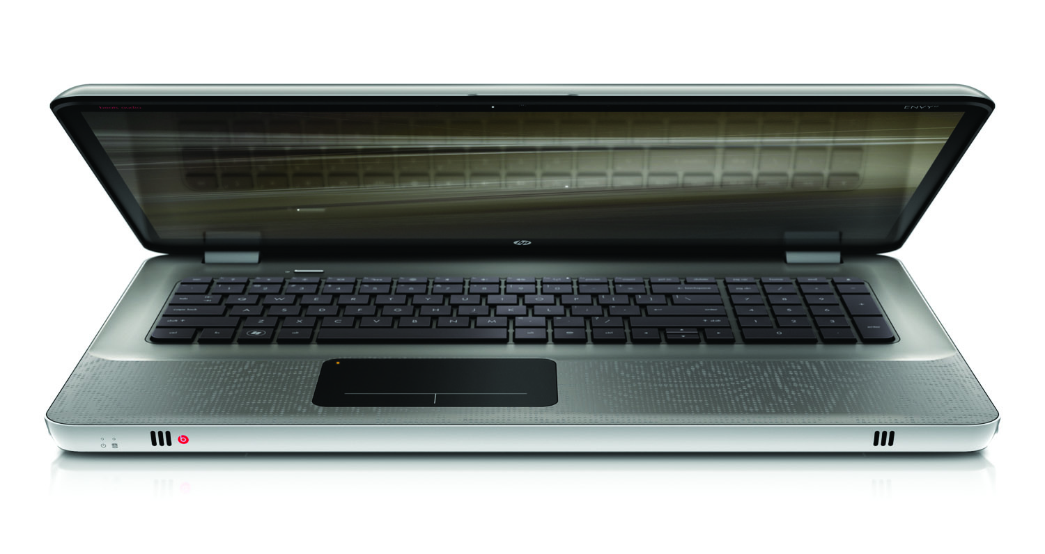 HP Envy 17, front slight open on white