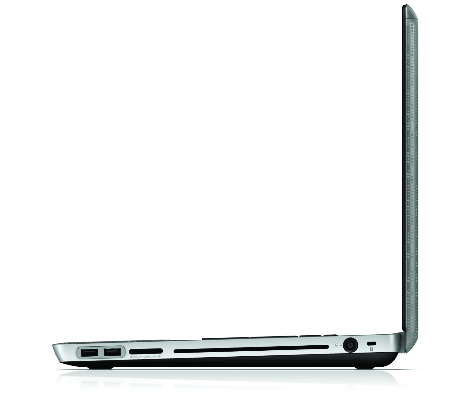 HP Envy 17, left open profile on white