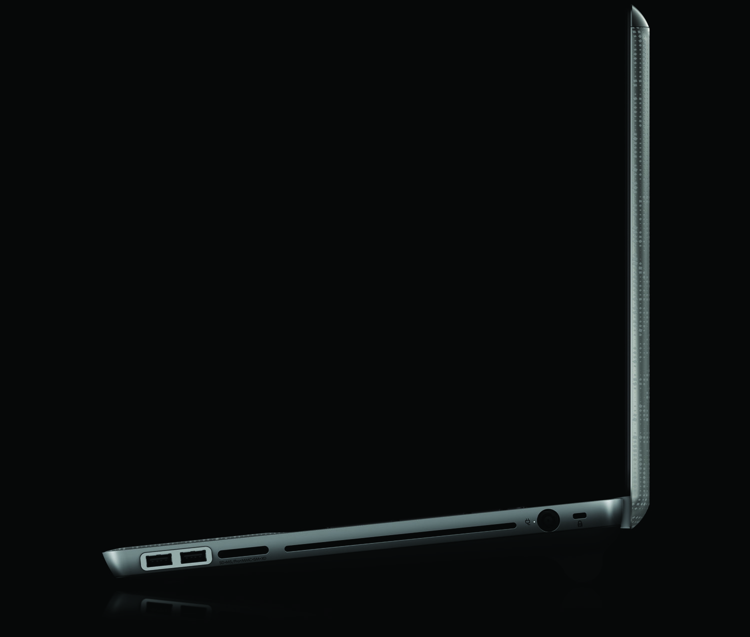 HP Envy 17, left profile with battery on black