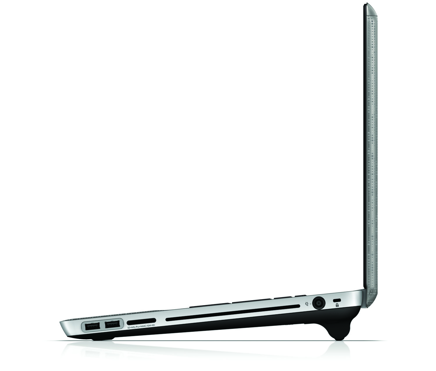 HP Envy 17, left profile with battery on white