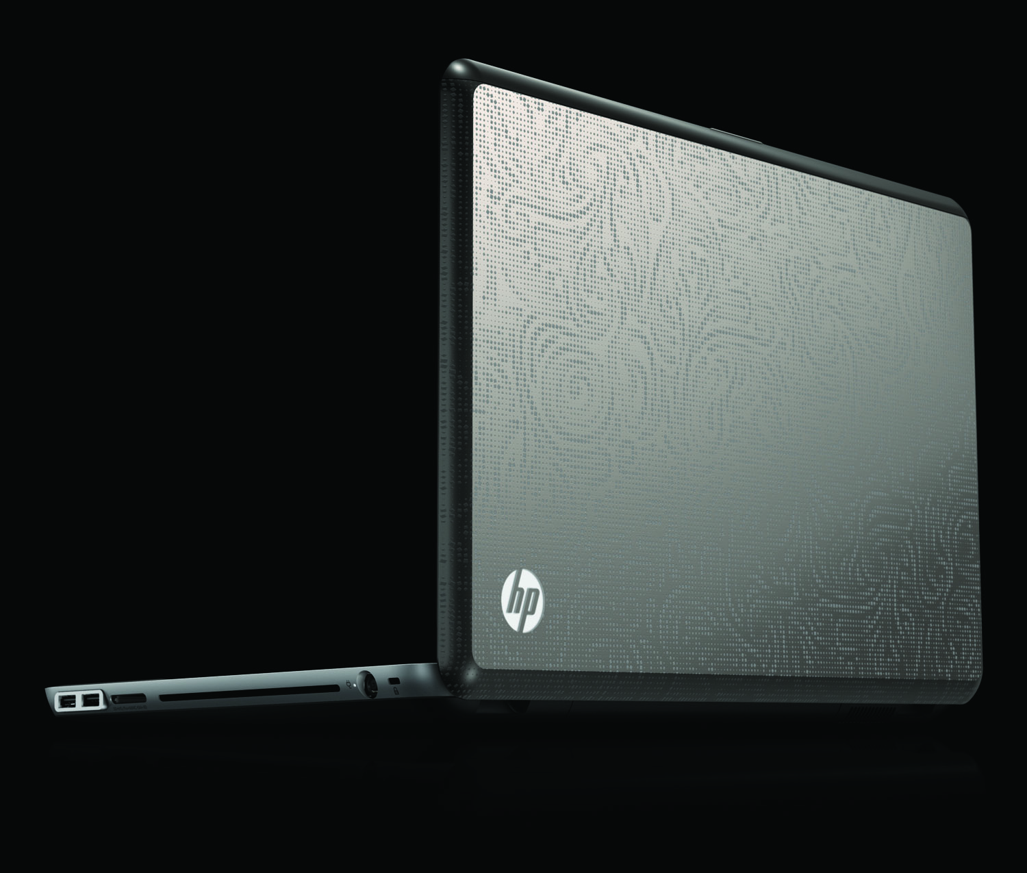 HP Envy 17, rear left open on black