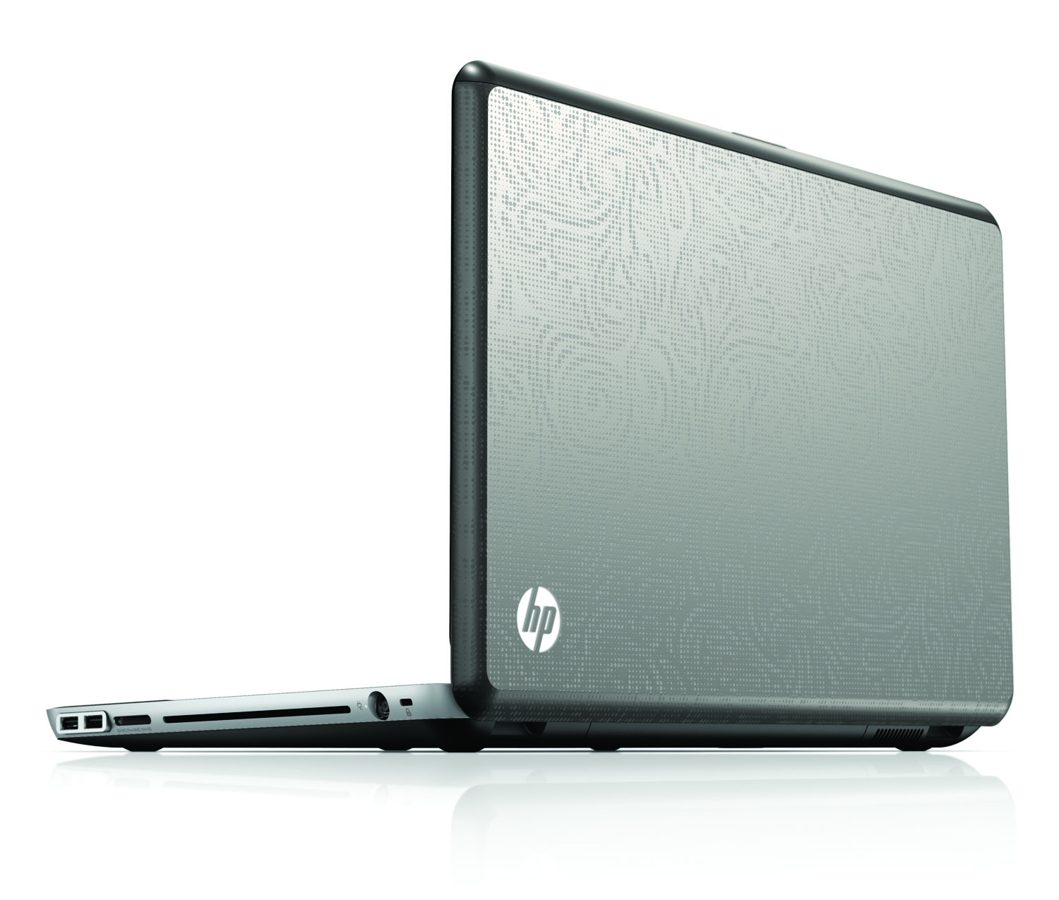 HP Envy 17, rear left open on white
