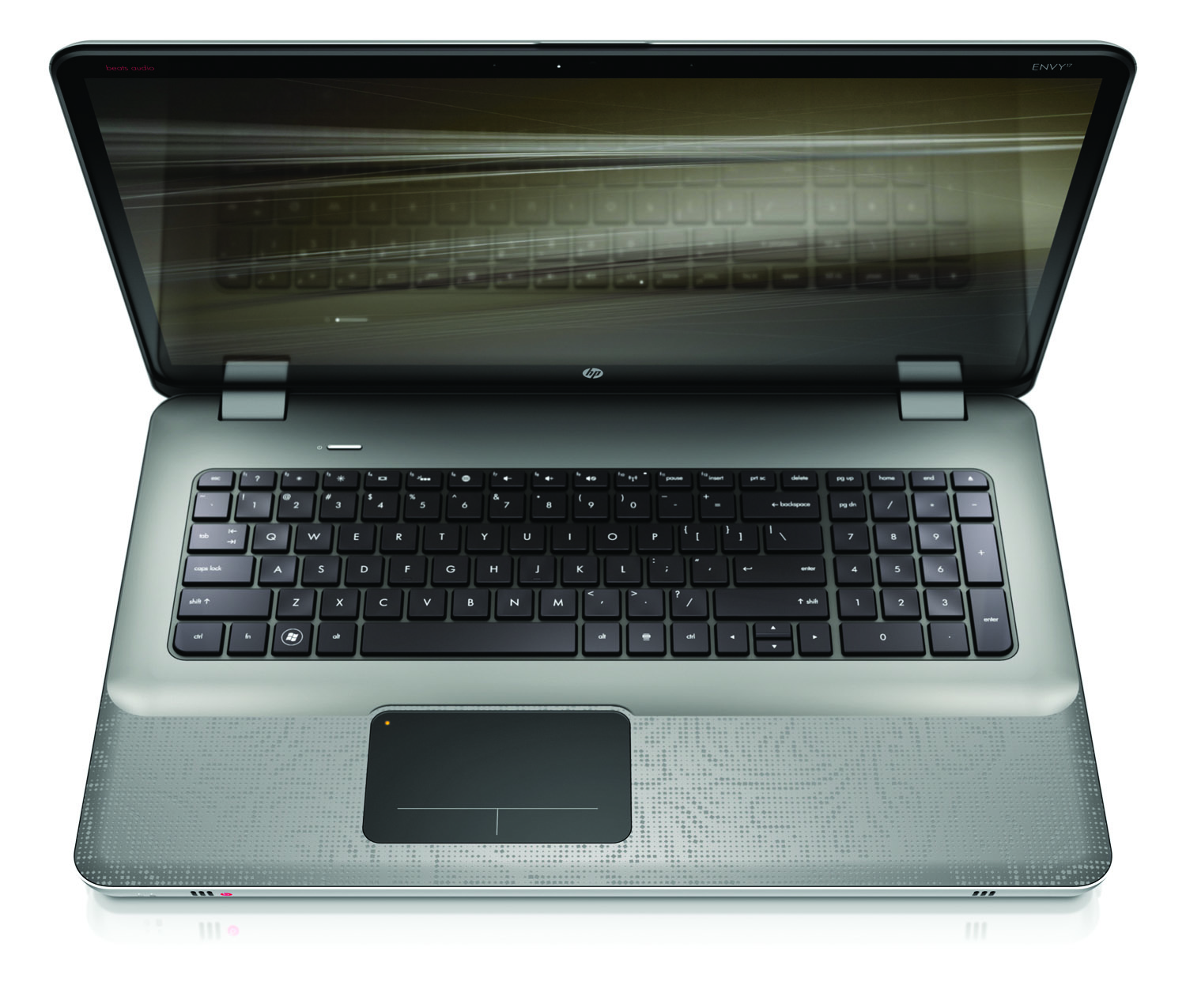 HP Envy 17, top open on white