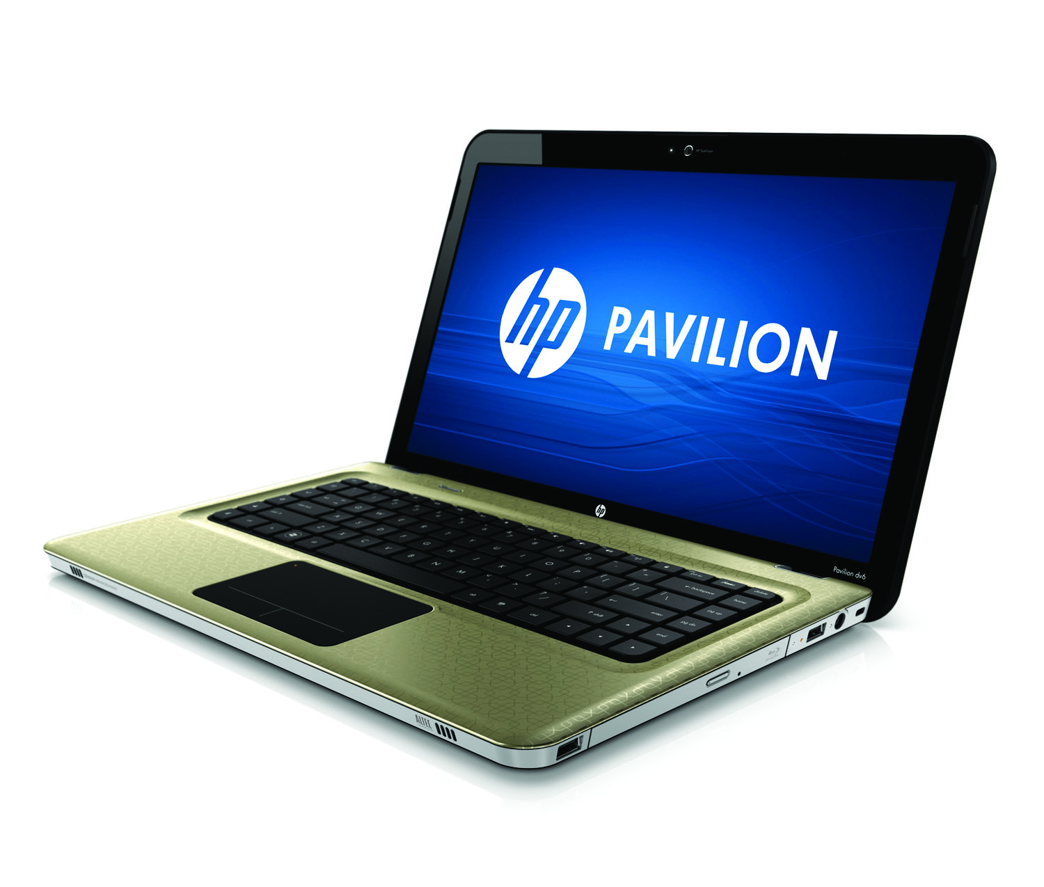 HP Pavilion dv6 Entertainment PC, champagne, front left open