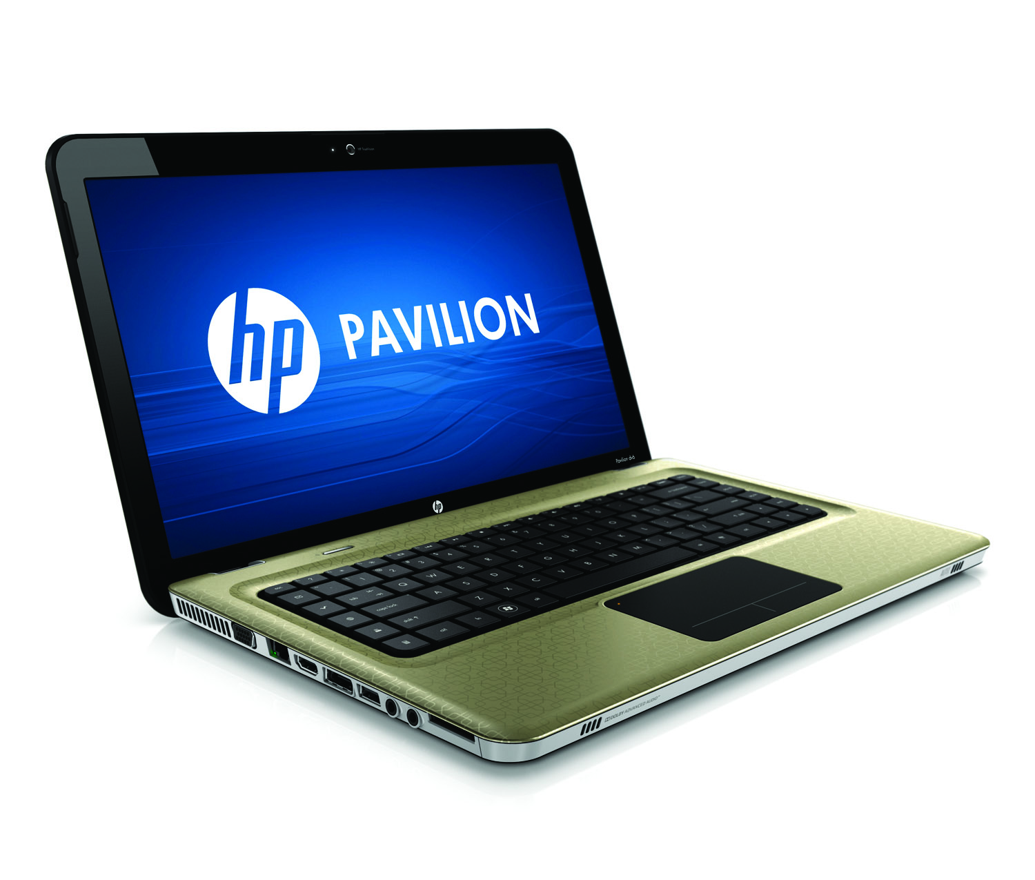 HP Pavilion dv6 Entertainment PC, champagne, front right open