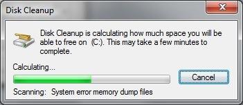 Disk Cleanup Scanning