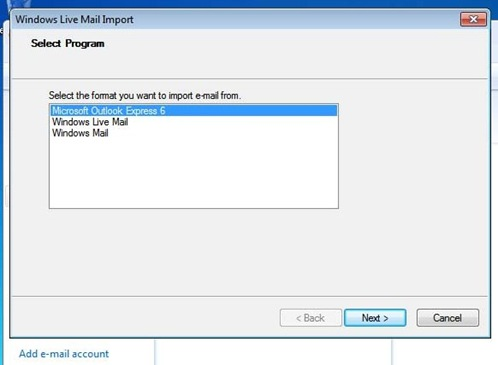 Import Messages WL Mail 2