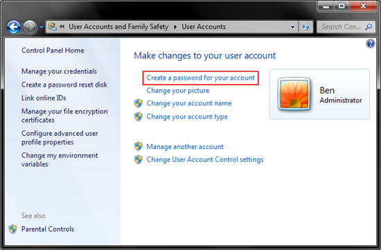 1.2 - create a password for your account