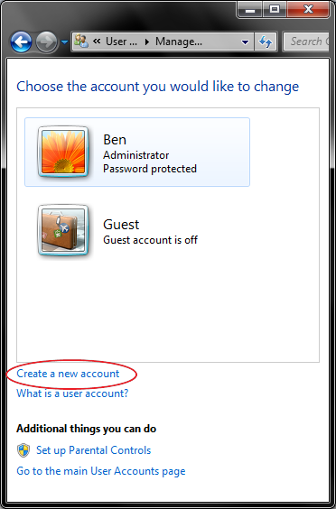 3 - manage accounts - create new account