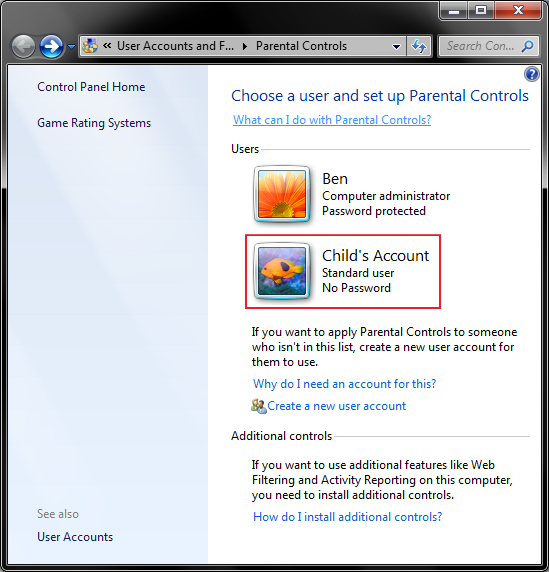 6 - parental controls - select child acount