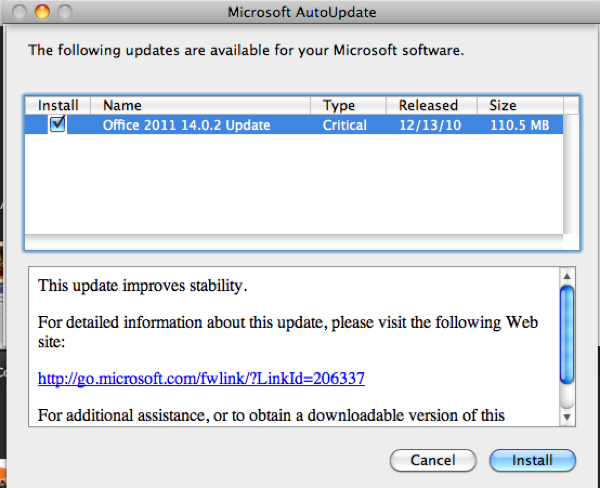 update microsoft office 2011 for mac