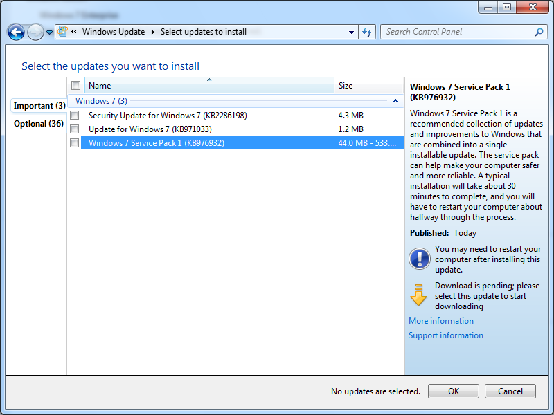 windows 7 how to update service pack