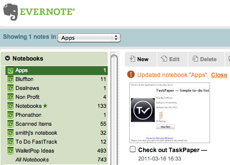 App Wishlist in Evernote