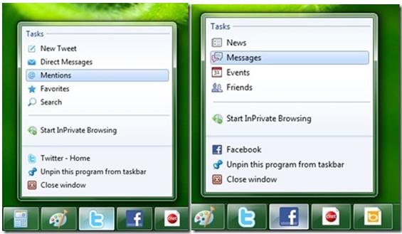 Internet Explorer 9 jump list