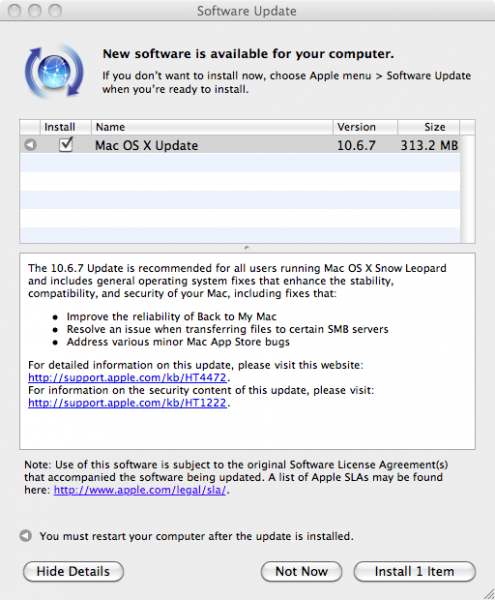 OS X 10.6.7 update screen