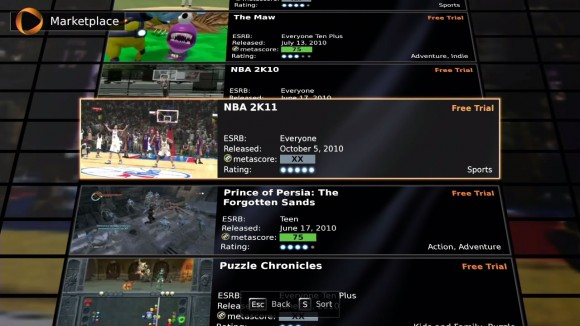 OnLive Review Game Selection