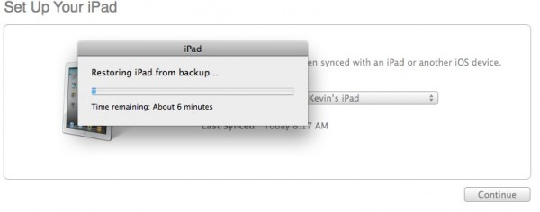 iTunes will restore the backup
