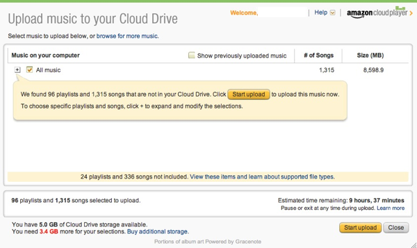 Amazon Cloud Player uploads your musc
