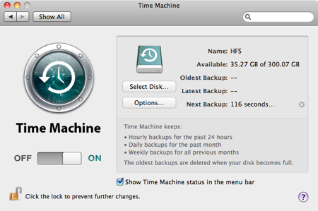 Time machine countdown to first backup