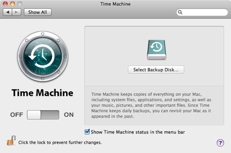 Time machine select backup disk