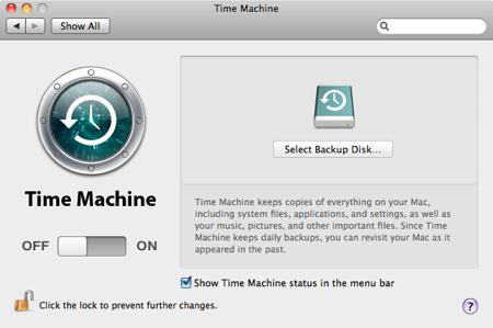 Time machine select backup disk
