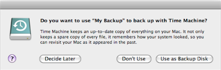 Time machine use as backup disk
