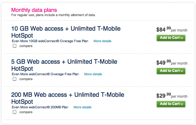 T-Mobile Rolls Out New webConnect Mobile Broadband Prices