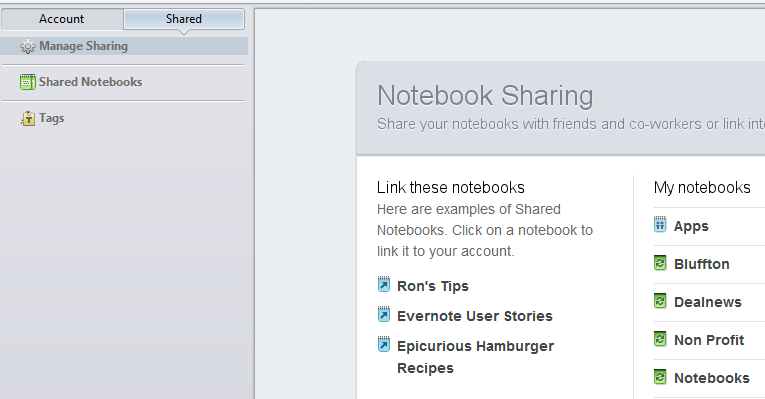 Evernote shared notebooks write access
