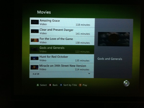 Xbox 360 My Videos Listing iTunes Movies