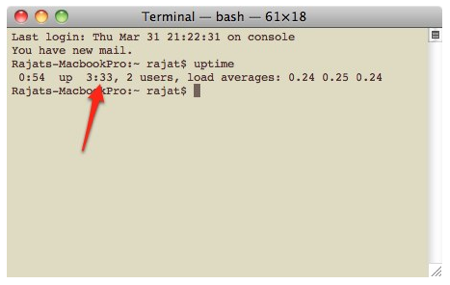 System Uptime in Mac OS X Using Terminal