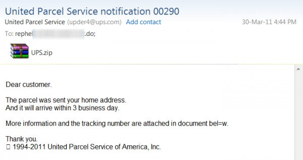 UPS package notification scam