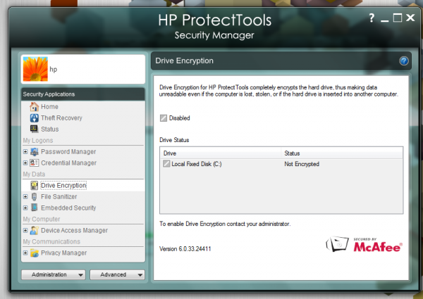 HP ProtectTools