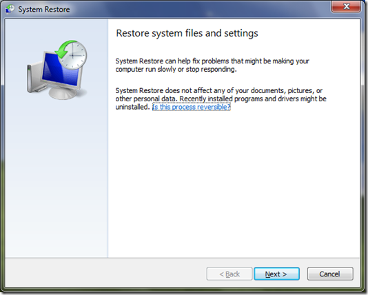 System Restore Wizard