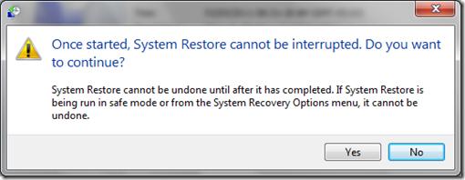 System Restore Warning