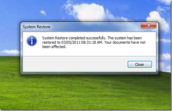 System Restore Complete