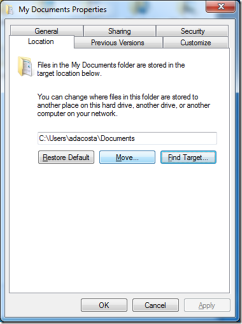 How to redirect a folder in Windows 7
