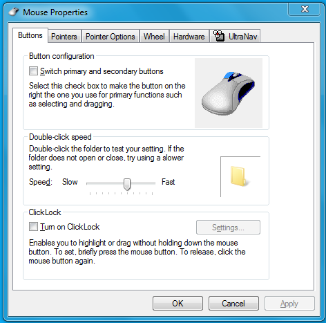 mouse properties Windows 7