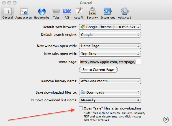 How to stop automatically opening Safe files in Safari