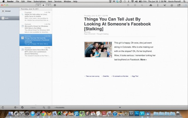 Reader for Mac Interface