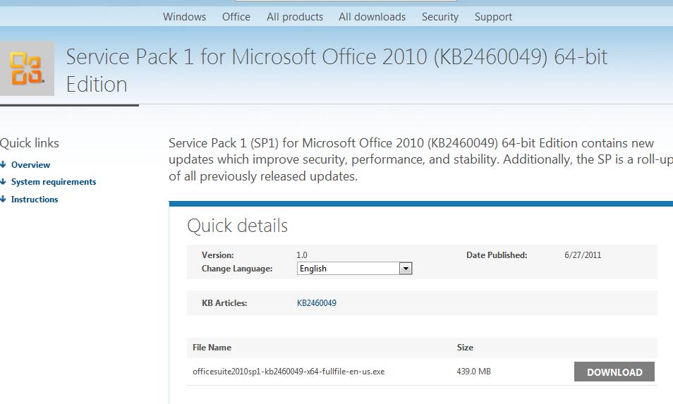 office 2010 service pack offline download
