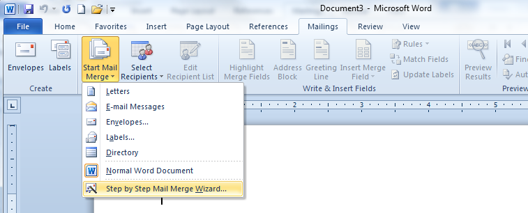 how to start wizard in word
