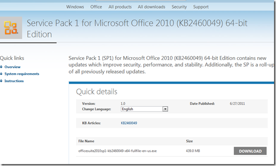 Office 2010 Service Pack 1 download