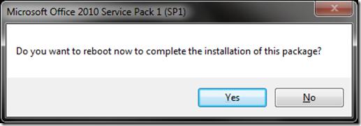 Office 2010 SP1 reboot prompt