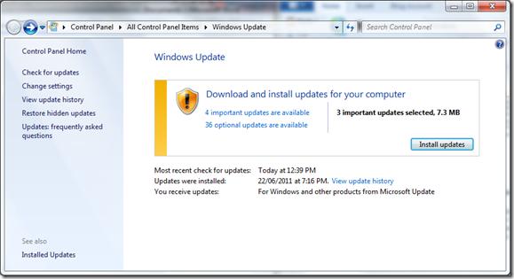 Office 2010 SP1 update in Windows Update