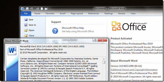 Office 2010 SP1 Confirmation